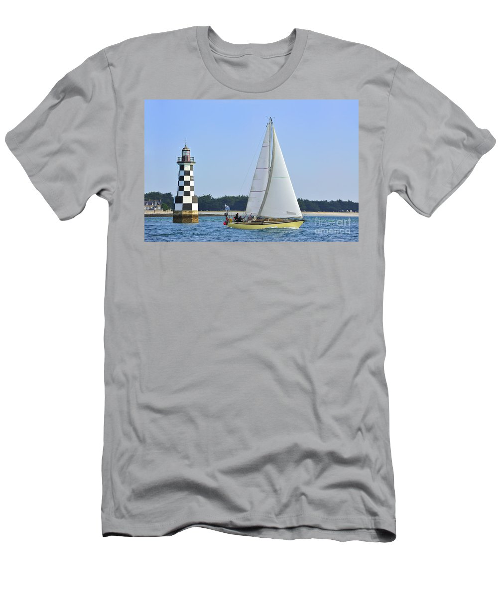 Sailing Boat Men's T-Shirt (Athletic Fit) featuring the photograph 120118p306 by Arterra Picture Library