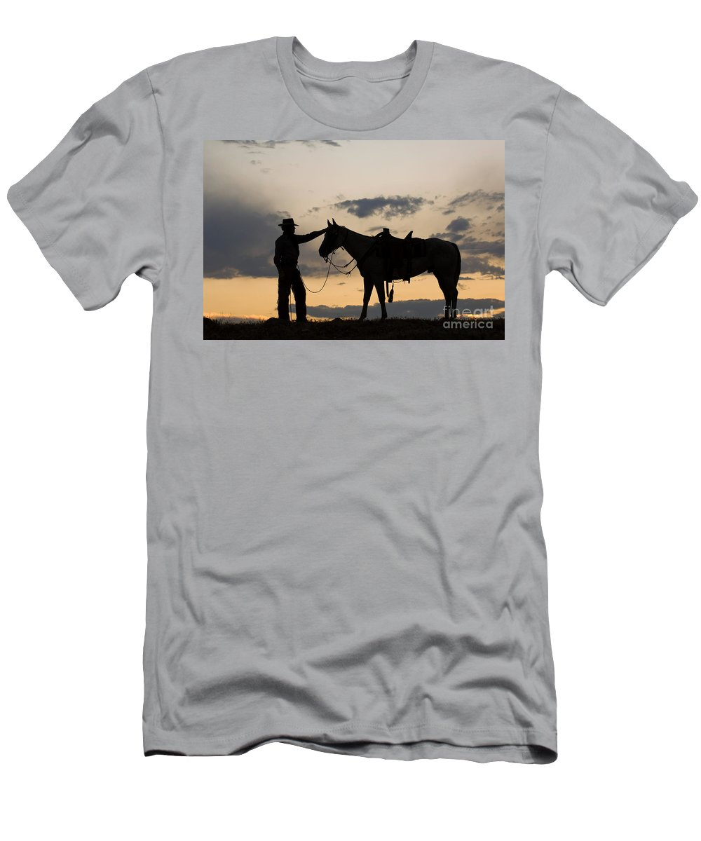 Cowboy Men's T-Shirt (Athletic Fit) featuring the photograph Cowboy by John Shaw
