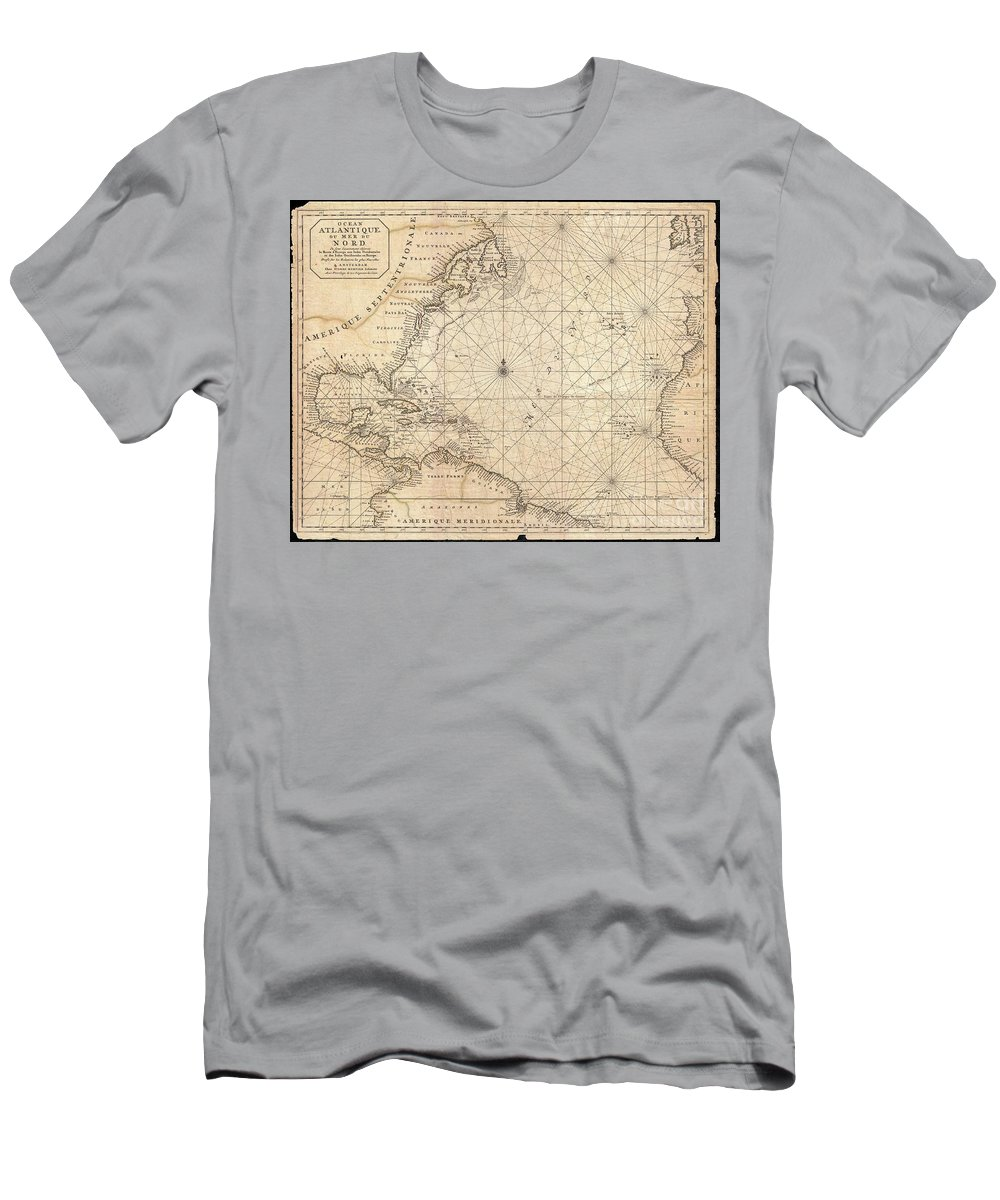 This Is A Rare And Remarkable 1693 Nautical Chart Of The Atlantic Ocean By Pierre Mortier. Covers The North Atlantic From Rough 5 Degree South Latitude To Roughly 56 Degrees North Latitude. Includes Much Of North America T-Shirt featuring the photograph 1683 Mortier Map Of North America The West Indies And The Atlantic Ocean by Paul Fearn