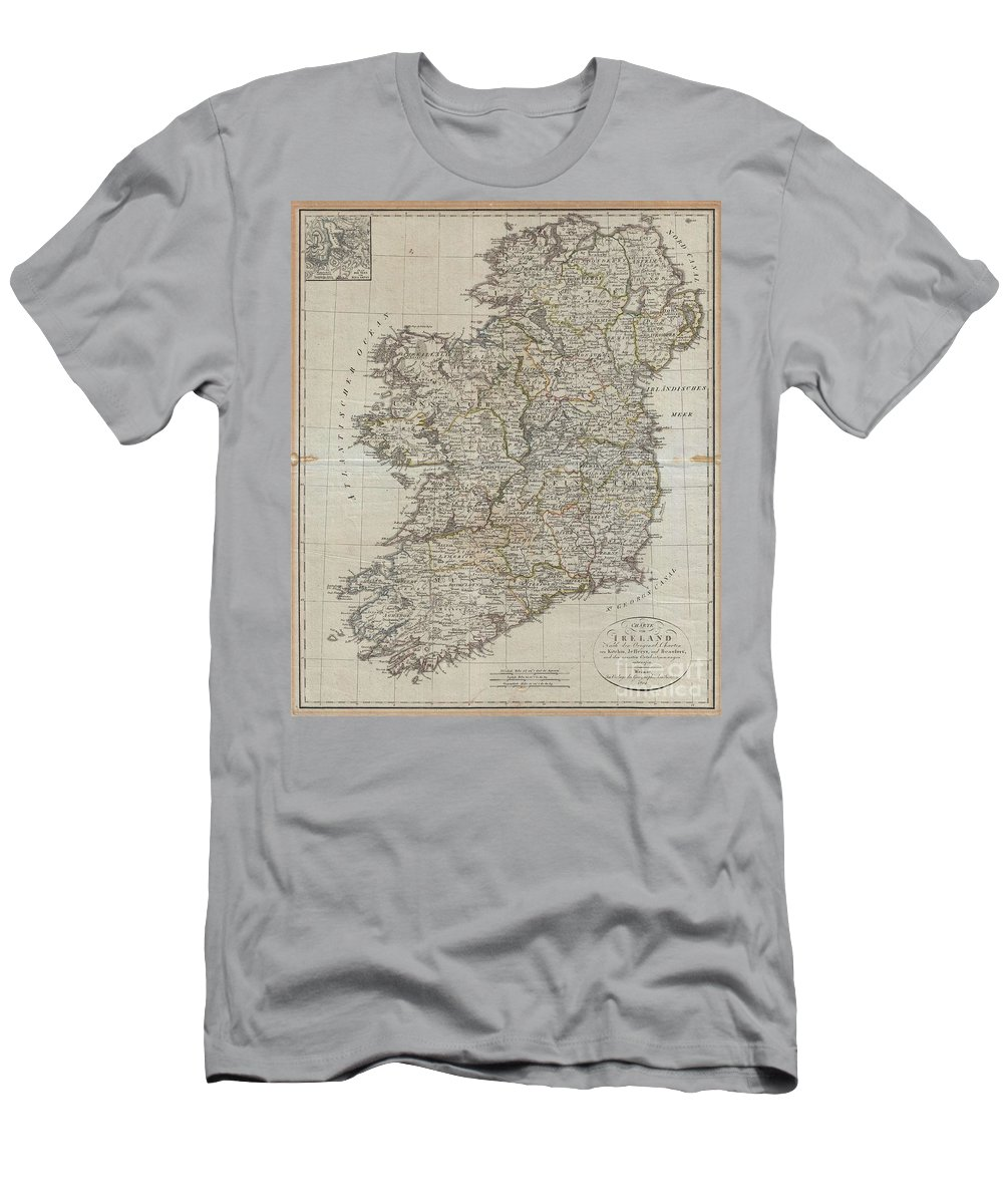 An Uncommon Map Of Ireland Dating To 1804. Though Published By The German Geographical Institute Men's T-Shirt (Athletic Fit) featuring the photograph 1804 Jeffreys And Kitchin Map Of Ireland by Paul Fearn