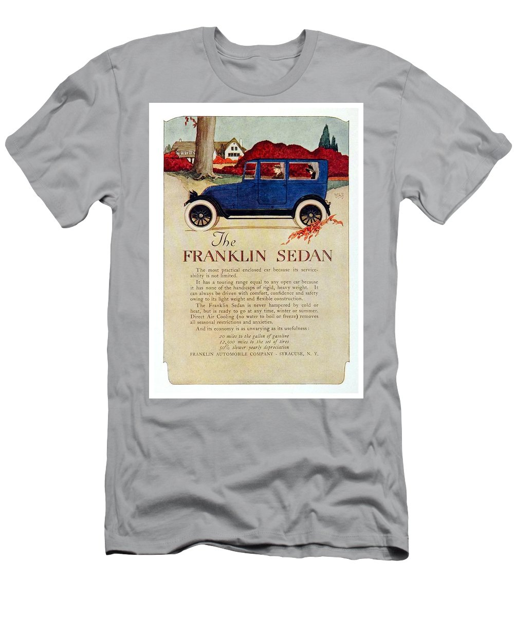 1919 Men's T-Shirt (Athletic Fit) featuring the digital art 1919 - Franklin Sedan Advertisement - Color by John Madison