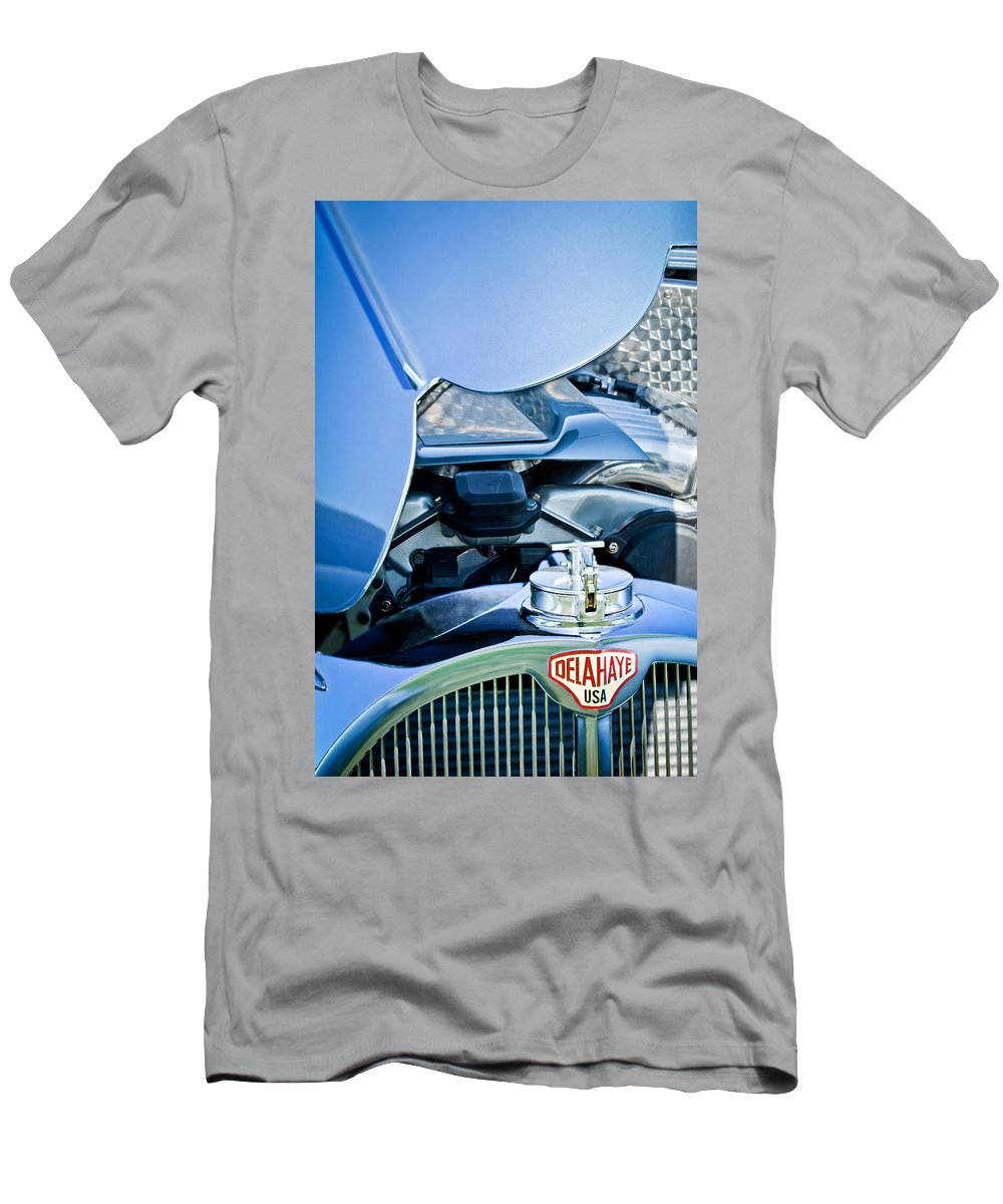 1937 Delahaye 115a Men's T-Shirt (Athletic Fit) featuring the photograph 1937 Delahaye 115a Engine by Jill Reger