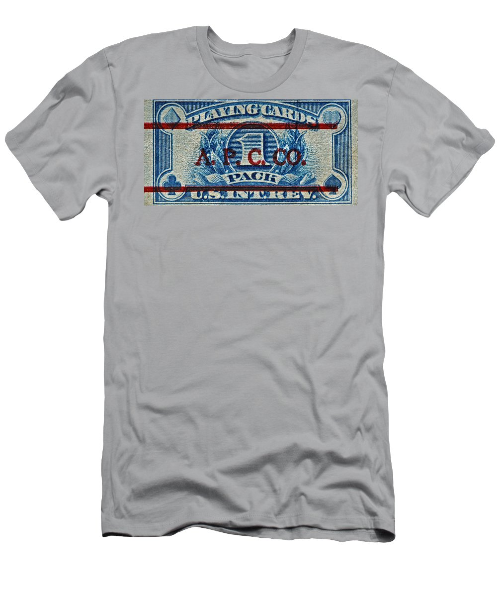 1940 Men's T-Shirt (Athletic Fit) featuring the photograph 1940-1965 Internal Revenue Playing Cards Stamp by Bill Owen
