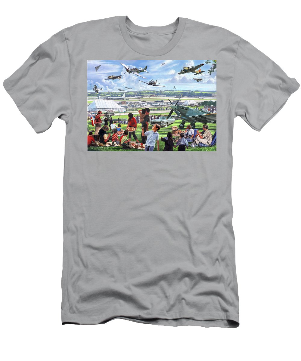 Flying Men's T-Shirt (Athletic Fit) featuring the digital art 1950 Airshow by MGL Meiklejohn Graphics Licensing