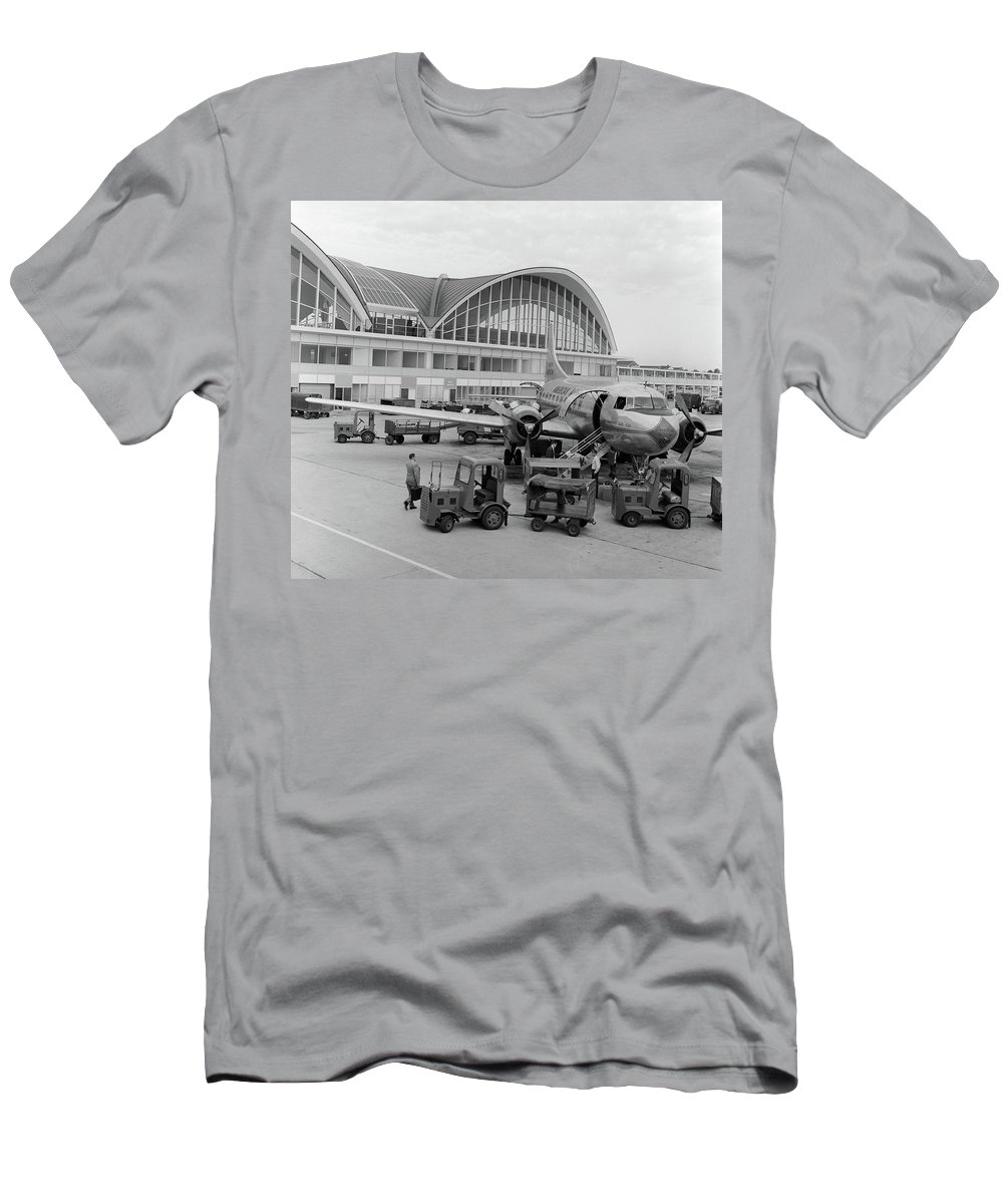 Photography Men's T-Shirt (Athletic Fit) featuring the photograph 1950s 1960s Propeller Airplane by Vintage Images