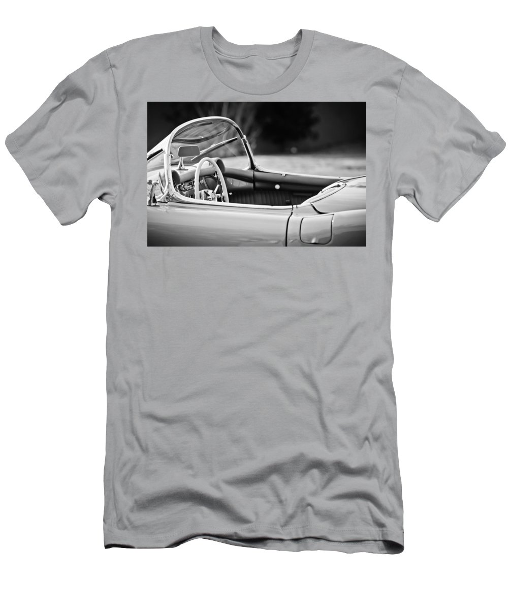 1954 Chevrolet Corvette Steering Wheel Men's T-Shirt (Athletic Fit) featuring the photograph 1954 Chevrolet Corvette Steering Wheel -407bw by Jill Reger
