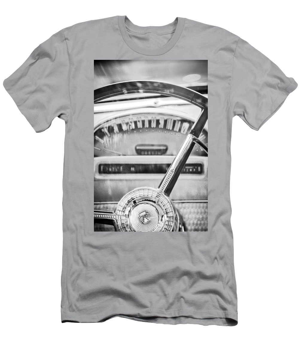 1956 Ford Thunderbird Steering Wheel Men's T-Shirt (Athletic Fit) featuring the photograph 1956 Ford Thunderbird Steering Wheel -260bw by Jill Reger