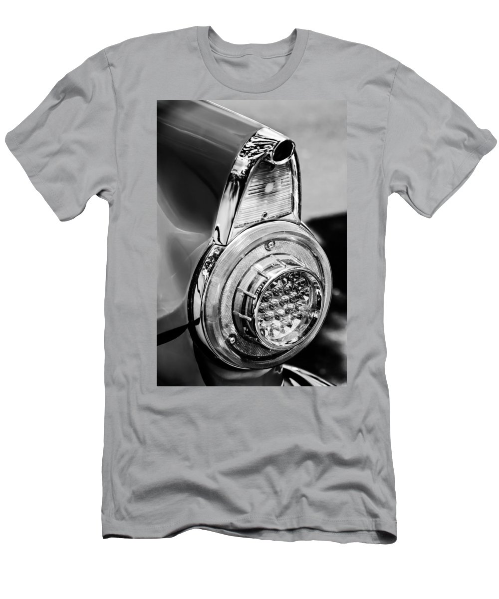 1956 Ford Thunderbird Taillight Men's T-Shirt (Athletic Fit) featuring the photograph 1956 Ford Thunderbird Taillight -247bw by Jill Reger