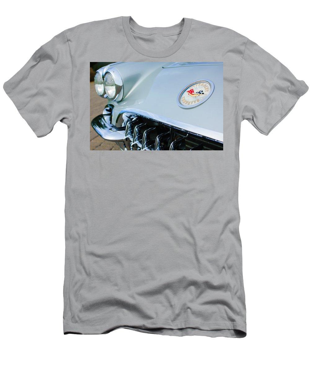 1960 Chevrolet Corvette Hood Emblem Men's T-Shirt (Athletic Fit) featuring the photograph 1960 Chevrolet Corvette Hood Emblem by Jill Reger