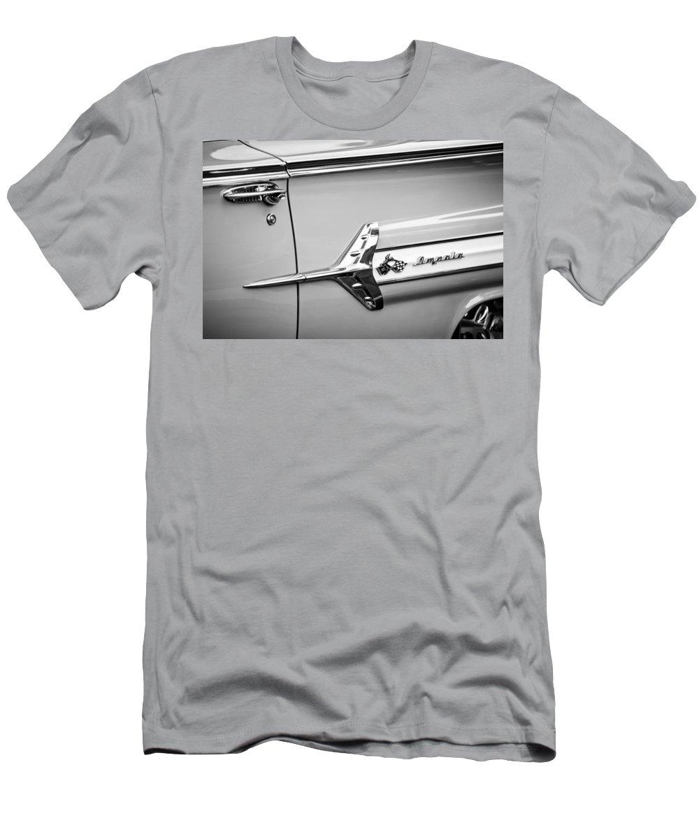 1960 Chevrolet Impala Emblem Men's T-Shirt (Athletic Fit) featuring the photograph 1960 Chevrolet Impala Emblem -340bw by Jill Reger