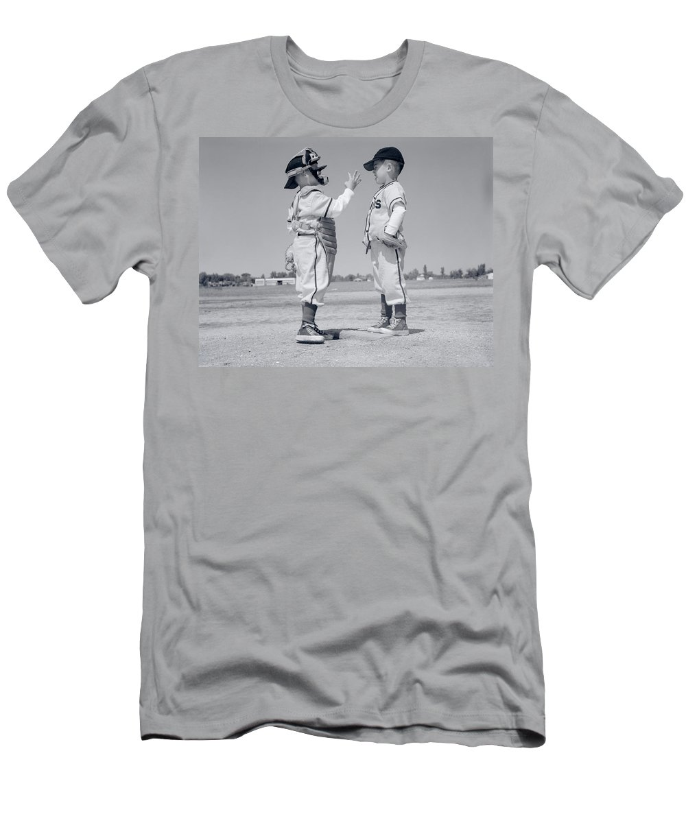 Photography Men's T-Shirt (Athletic Fit) featuring the photograph 1960s Boy Little Leaguer Pitcher by Vintage Images