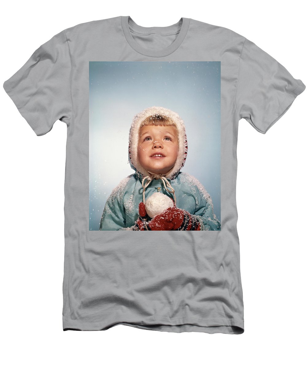 Photography Men's T-Shirt (Athletic Fit) featuring the photograph 1960s Little Girl Holding Snow Ball by Vintage Images