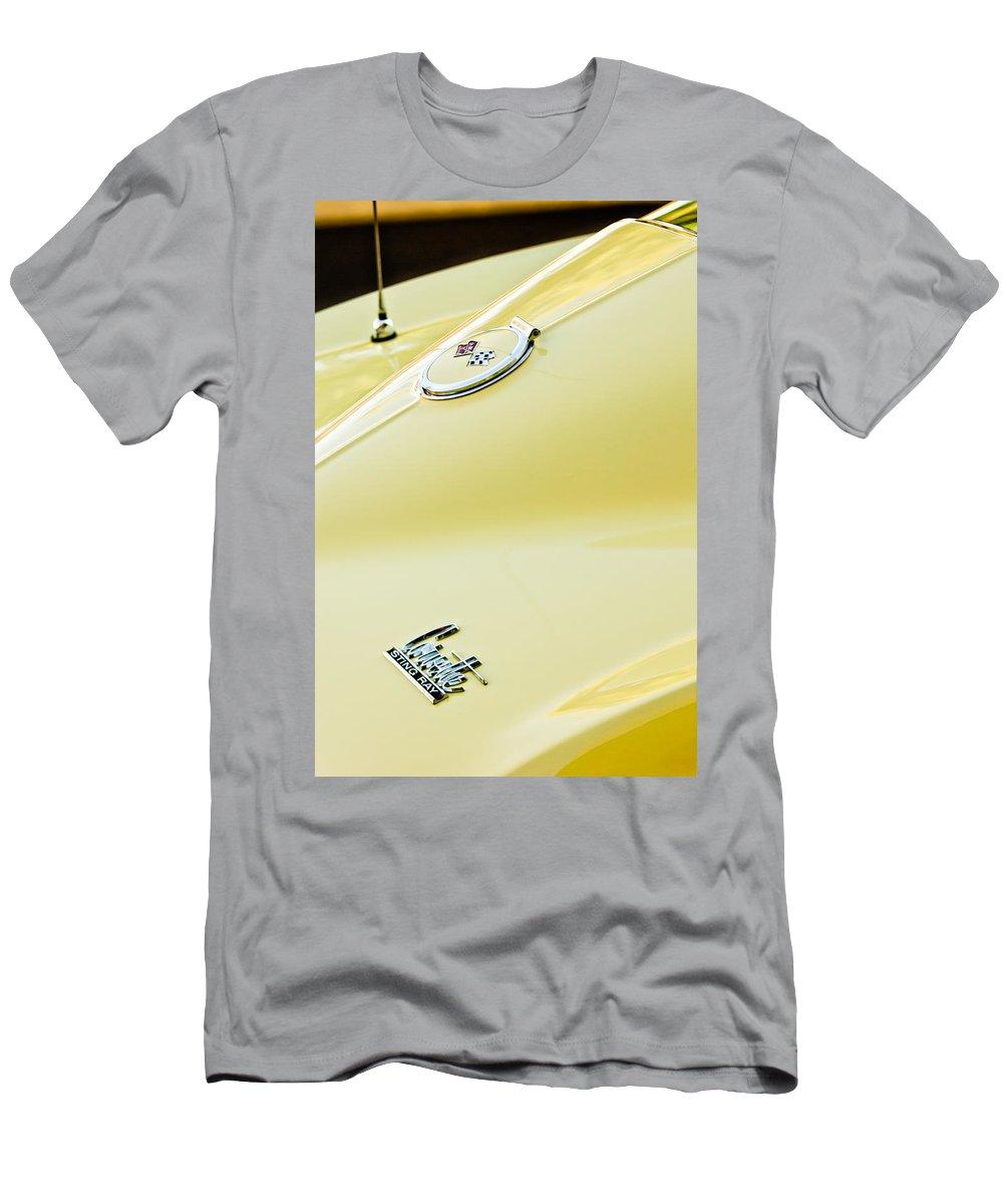 1967 Chevrolet Corvette Sports Coupe Emblems Men's T-Shirt (Athletic Fit) featuring the photograph 1967 Chevrolet Corvette Sport Coupe Emblem 2 by Jill Reger