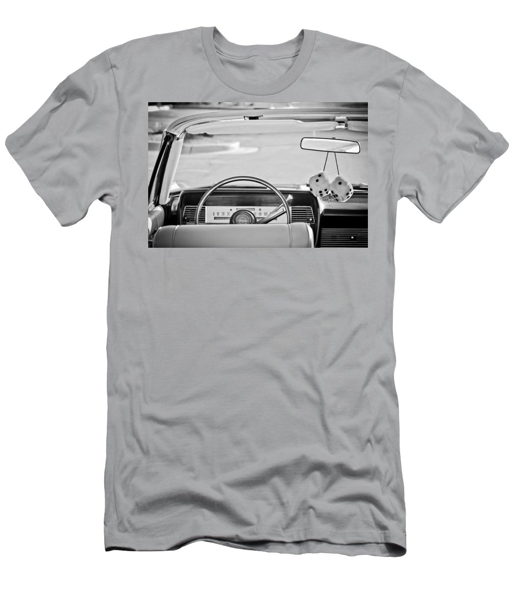 1967 Lincoln Continental Steering Wheel Men's T-Shirt (Athletic Fit) featuring the photograph 1967 Lincoln Continental Steering Wheel -014bw by Jill Reger