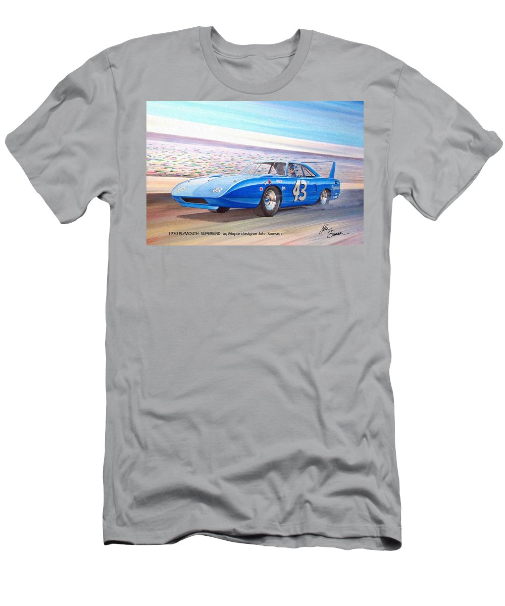 1970 Plymouth Men's T-Shirt (Athletic Fit) featuring the painting 1970 Superbird Petty Nascar Racecar Muscle Car Sketch Rendering by John Samsen
