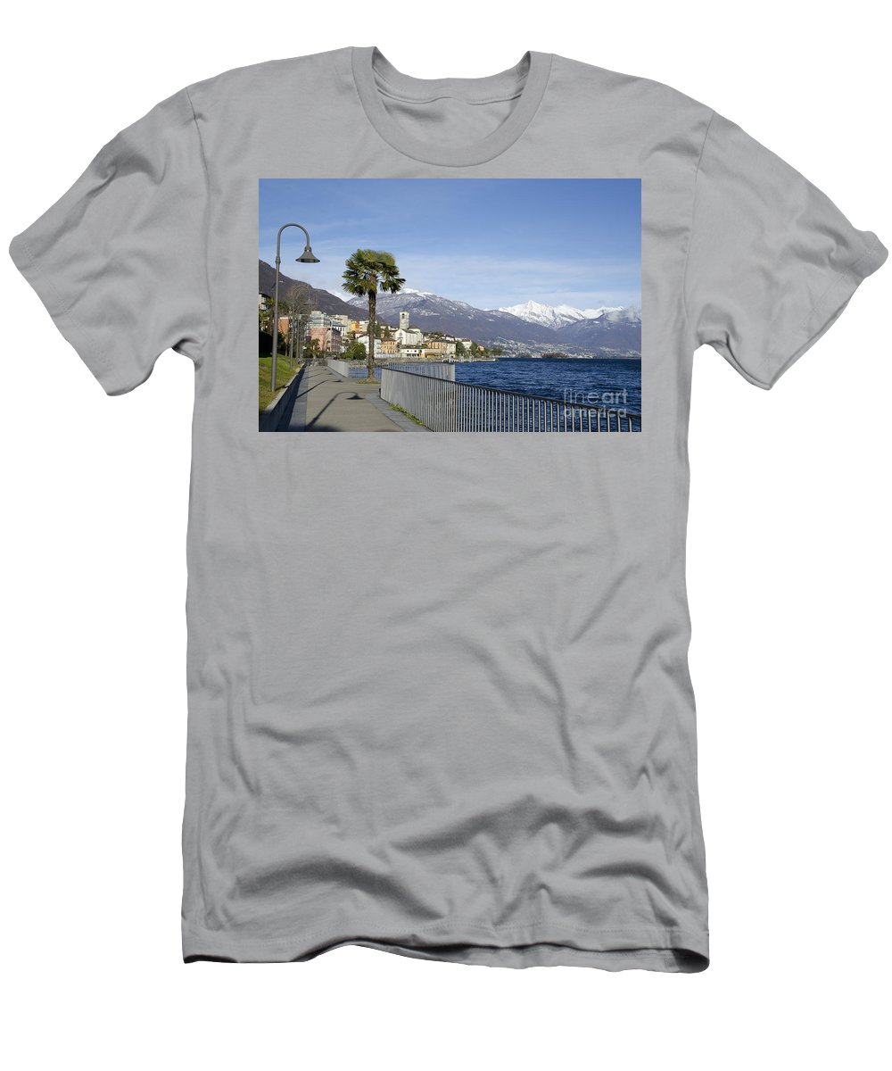 Village Men's T-Shirt (Athletic Fit) featuring the photograph Alpine Village On The Lakefront by Mats Silvan