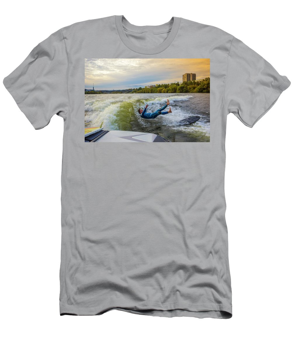 Water Men's T-Shirt (Athletic Fit) featuring the photograph Autumn Wake Surfing by Konstantin Trubavin
