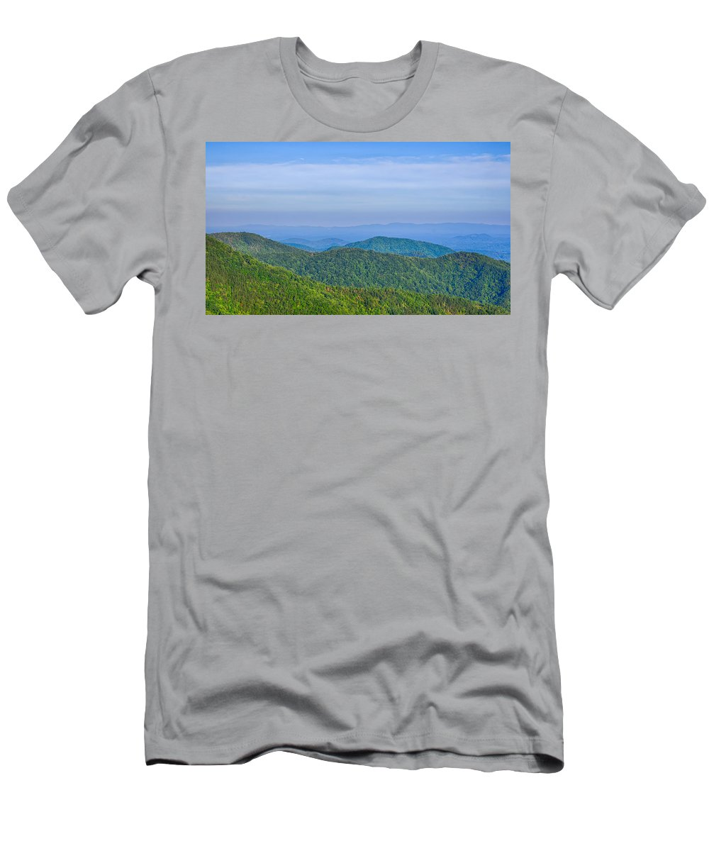Mountains Men's T-Shirt (Athletic Fit) featuring the photograph Blue Ridge Parkway National Park Sunset Scenic Mountains Summer by Alex Grichenko
