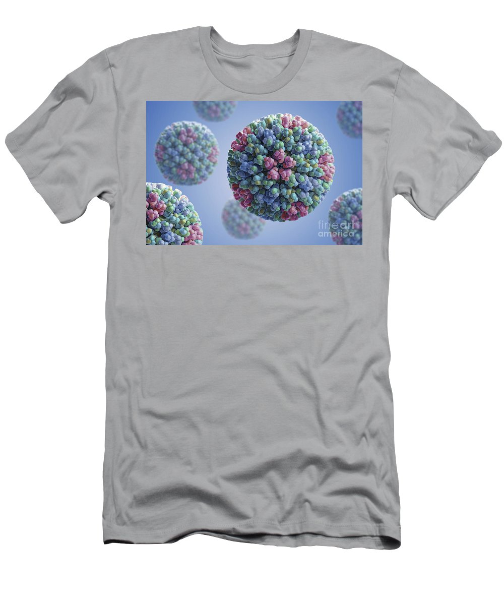 Digitally Generated Image Men's T-Shirt (Athletic Fit) featuring the photograph Bluetongue Virus by Science Picture Co