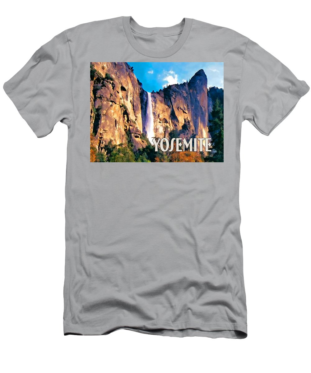 Scenic Landscape Park National+park Mountains Waterfall Water+fall West Western Yosemite Rugged California Men's T-Shirt (Athletic Fit) featuring the painting Bridal Veil Falls Yosemite National Park by Elaine Plesser