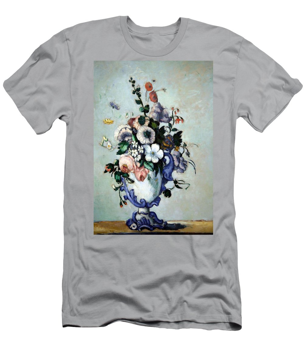 Flowers In A Rococo Vase Men's T-Shirt (Athletic Fit) featuring the photograph Cezanne's Flowers In A Rococo Vase by Cora Wandel