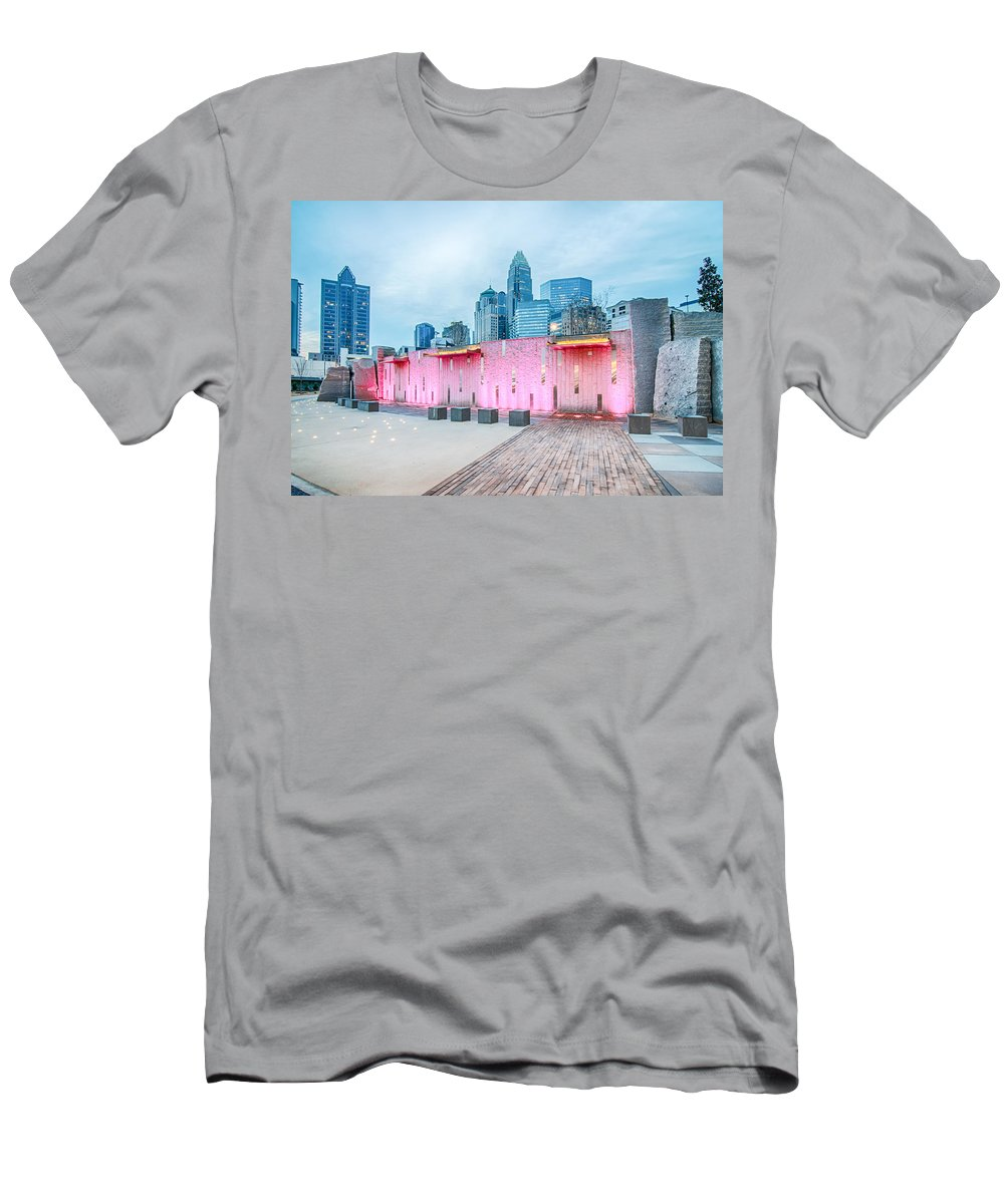 Charlotte Men's T-Shirt (Athletic Fit) featuring the photograph Charlotte City Skyline In The Evening by Alex Grichenko