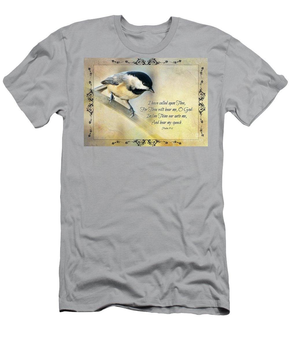 Nature Men's T-Shirt (Athletic Fit) featuring the photograph Chickadee With Verse by Debbie Portwood