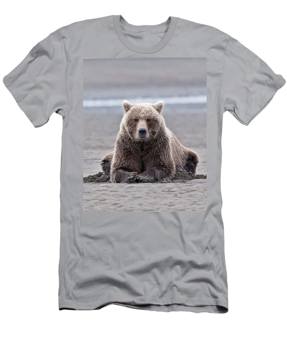 Wild Men's T-Shirt (Athletic Fit) featuring the photograph Coastal Brown Bears On Salmon Watch by Gary Langley