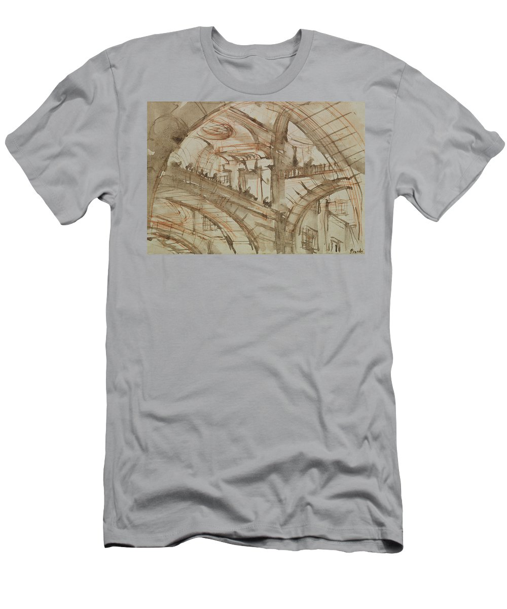 Gaol; Jail; Carceri D'invenzione; Fictive; Fantastic; Vaulted; Interior Men's T-Shirt (Athletic Fit) featuring the drawing Drawing Of An Imaginary Prison 2 by Giovanni Battista Piranesi