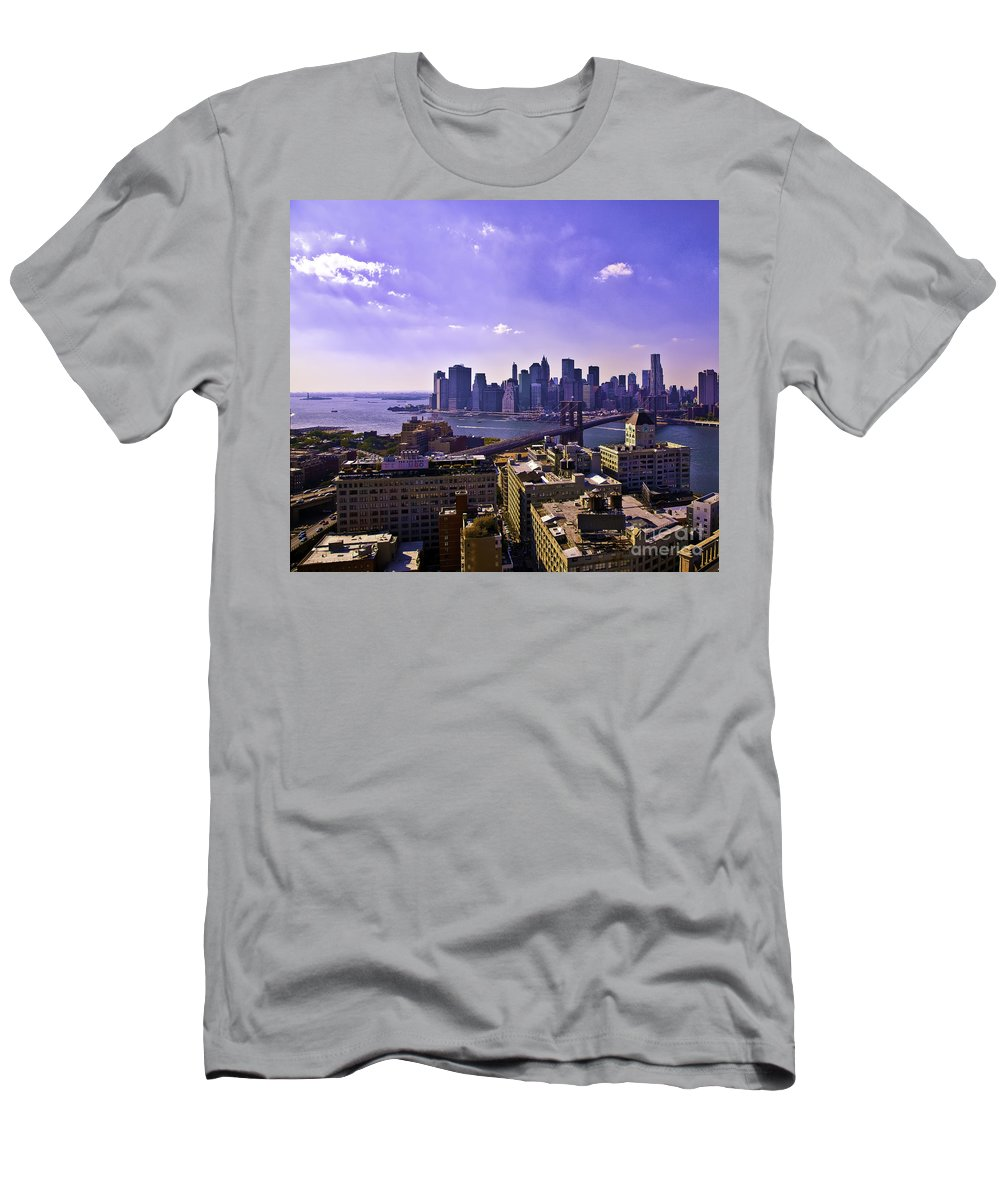Dumbo Men's T-Shirt (Athletic Fit) featuring the photograph Dumbo View Of Lower Manhattan by Madeline Ellis