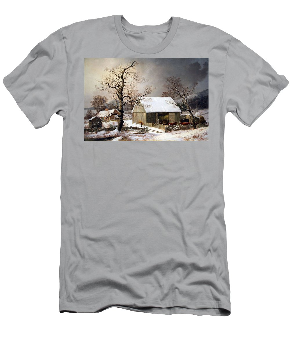 Winter In The Country Men's T-Shirt (Athletic Fit) featuring the photograph Durrie's Winter In The Country by Cora Wandel