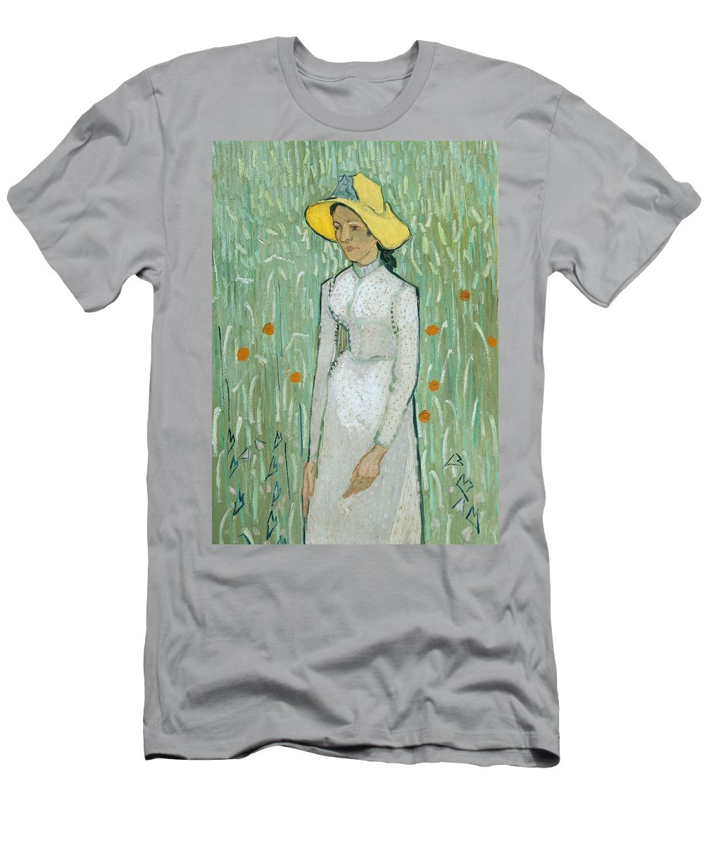 Female; Woman; Young; Poppy Field; Dress; Hat; Summer; Wild Flowers; Yellow; Hats Men's T-Shirt (Athletic Fit) featuring the painting Girl In White by Vincent van Gogh
