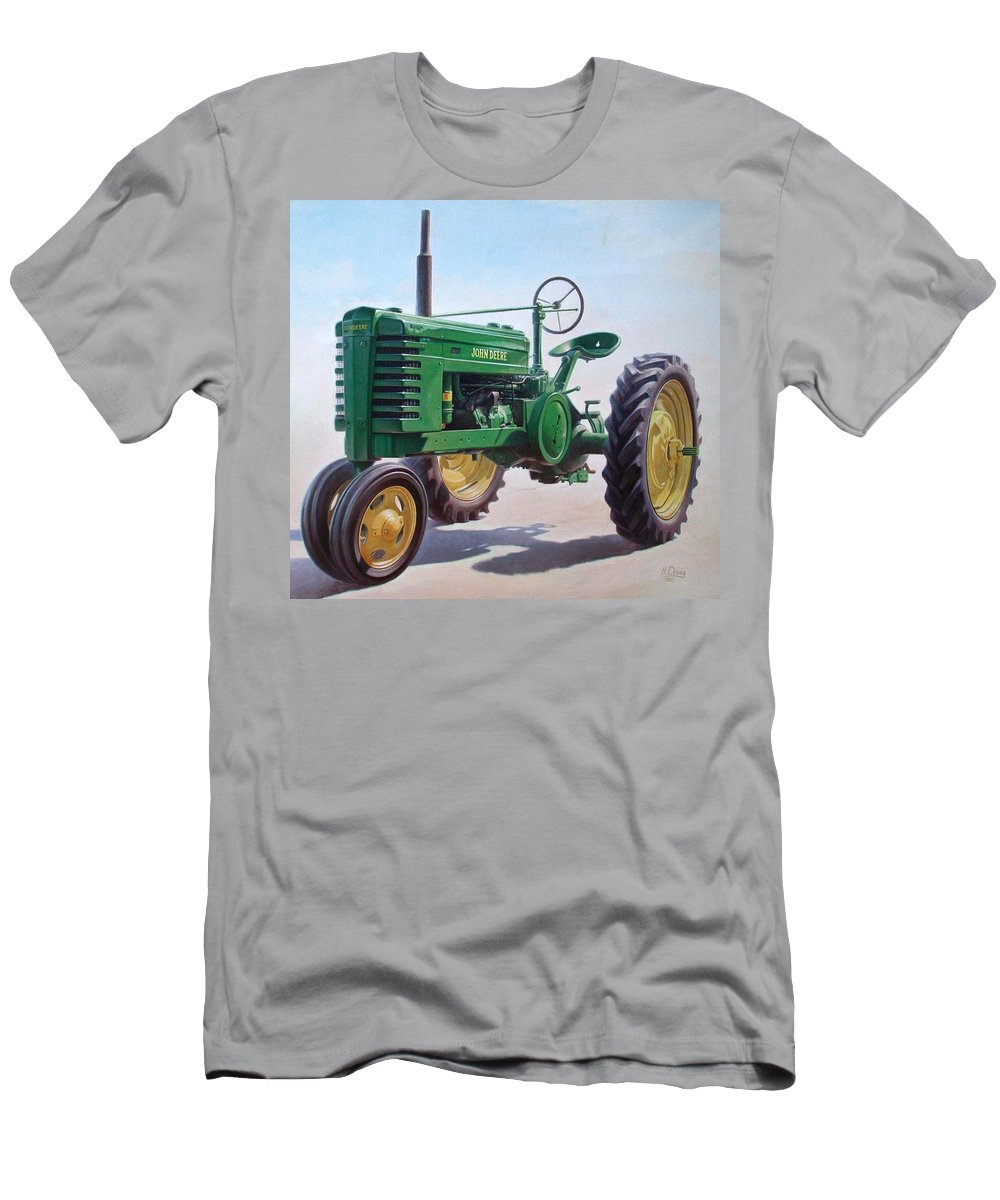 Tractor Men's T-Shirt (Athletic Fit) featuring the painting John Deere Tractor by Hans Droog