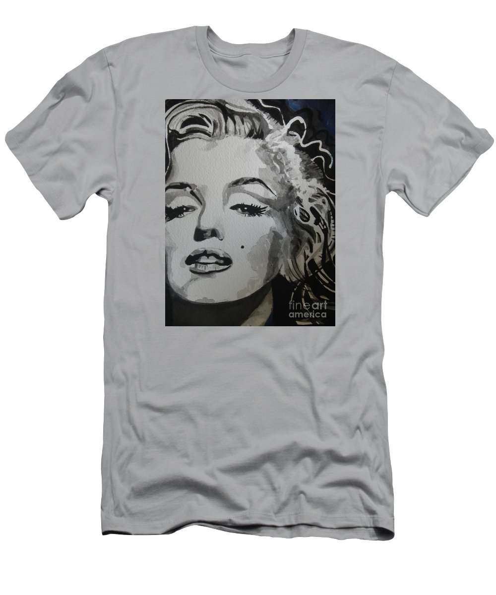 Watercolor Painting Men's T-Shirt (Athletic Fit) featuring the painting Marilyn Monroe 01 by Chrisann Ellis