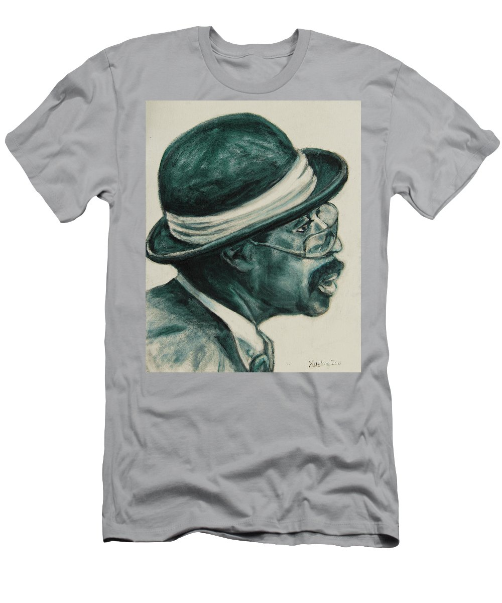 Black Men's T-Shirt (Athletic Fit) featuring the painting Mr Bowler Mustache by Xueling Zou