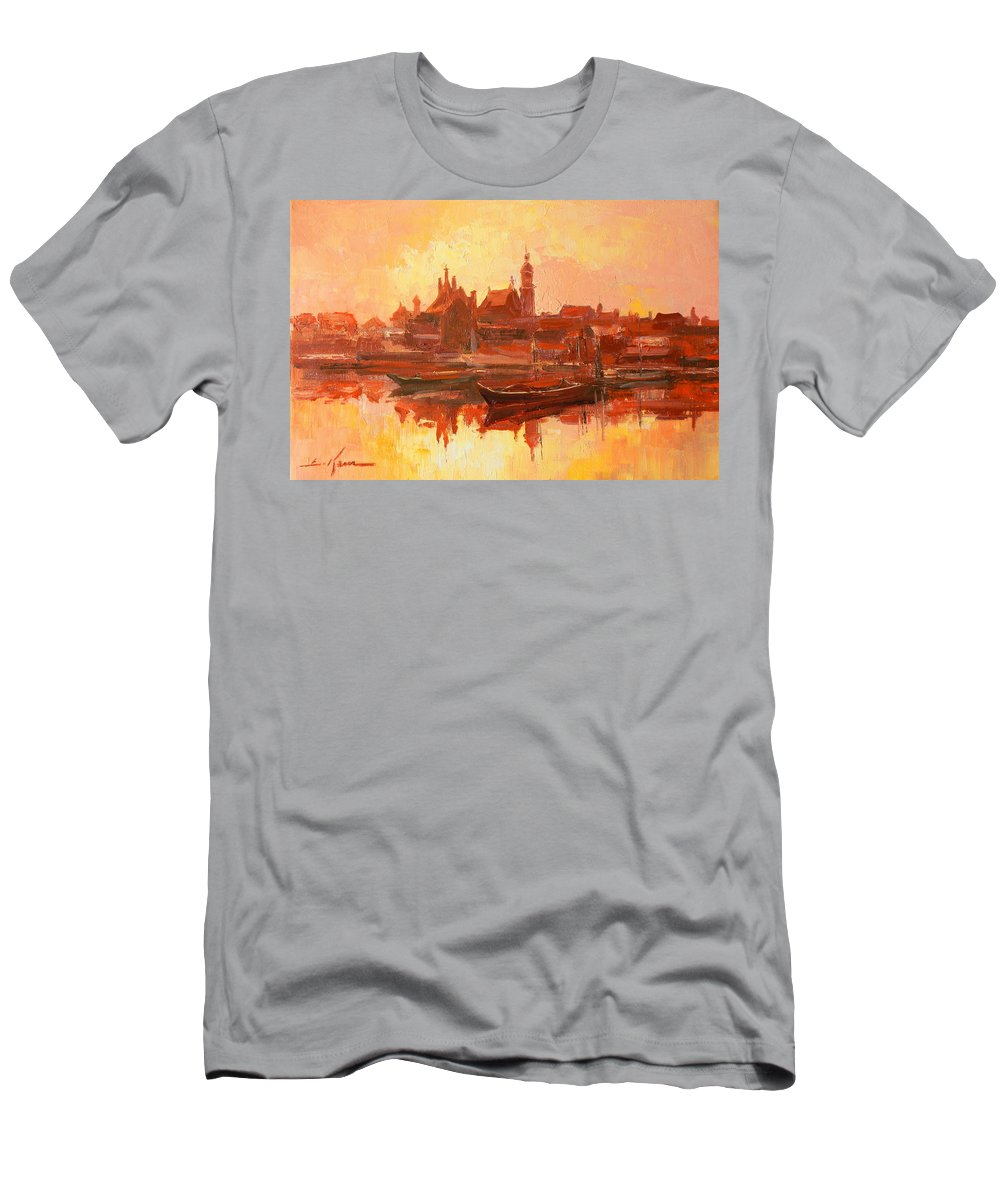 Warsaw Men's T-Shirt (Athletic Fit) featuring the painting Old Warsaw - Wisla River by Luke Karcz