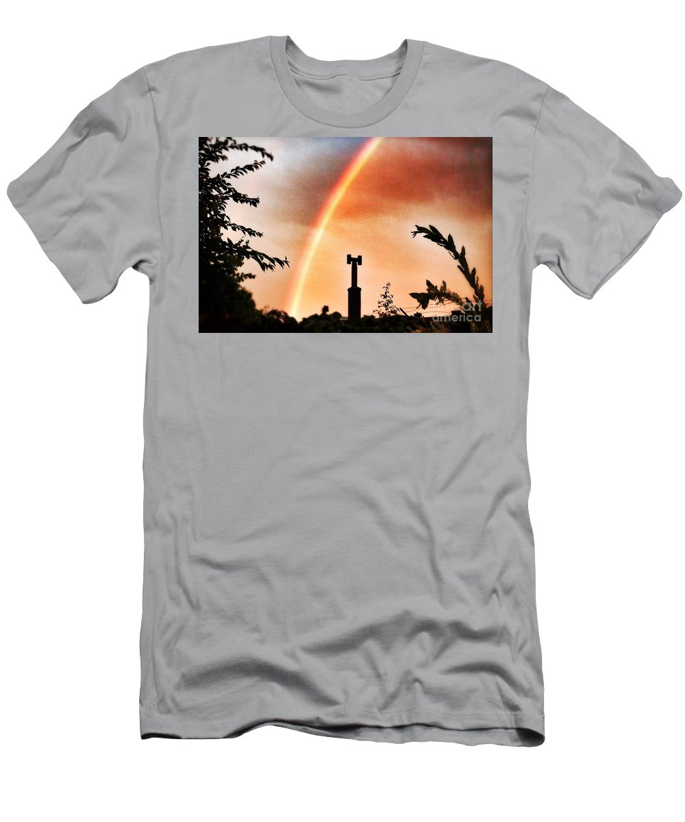 Rainbow Men's T-Shirt (Athletic Fit) featuring the photograph Rainbow Over The City by Nick Biemans
