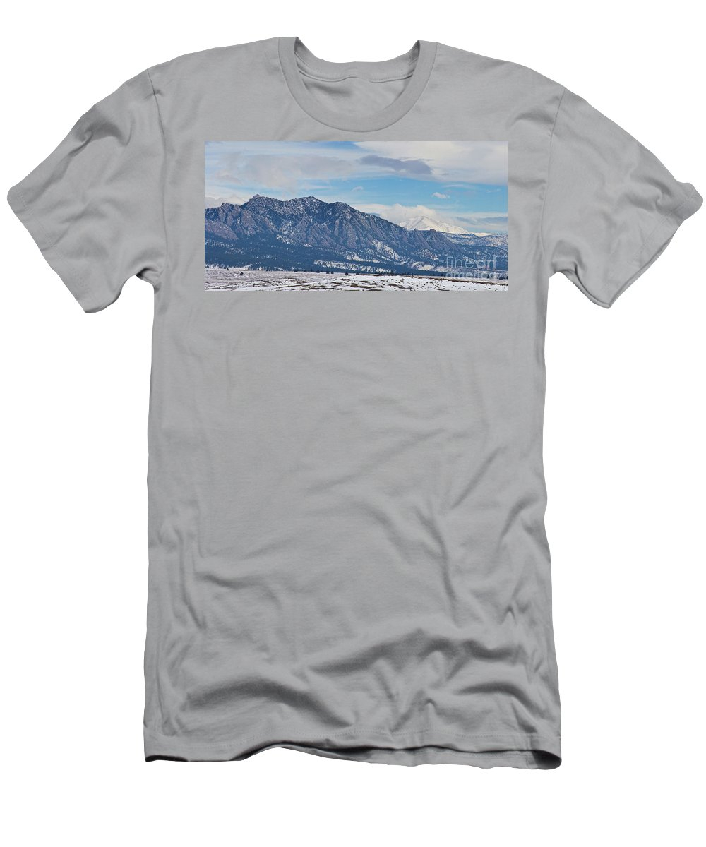 Rocky Mountains Men's T-Shirt (Athletic Fit) featuring the photograph Rocky Mountains Flatirons And Longs Peak Panorama Boulder by James BO Insogna