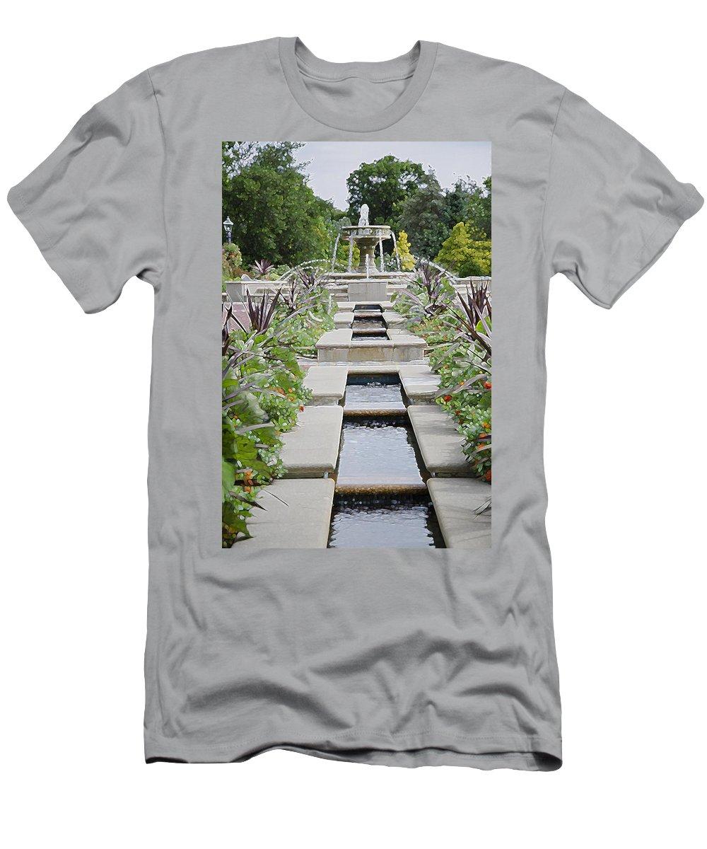 Sarah Lee Baker Perennial Garden Men's T-Shirt (Athletic Fit) featuring the painting Sarah Lee Baker Perennial Garden 3 by Jeelan Clark