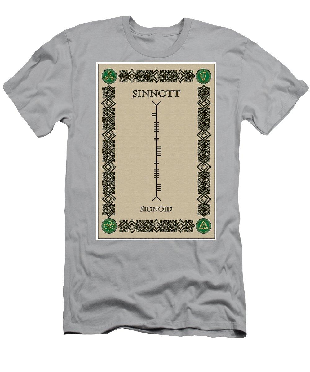 Sinnott Men's T-Shirt (Athletic Fit) featuring the digital art Sinnott Written In Ogham by Ireland Calling