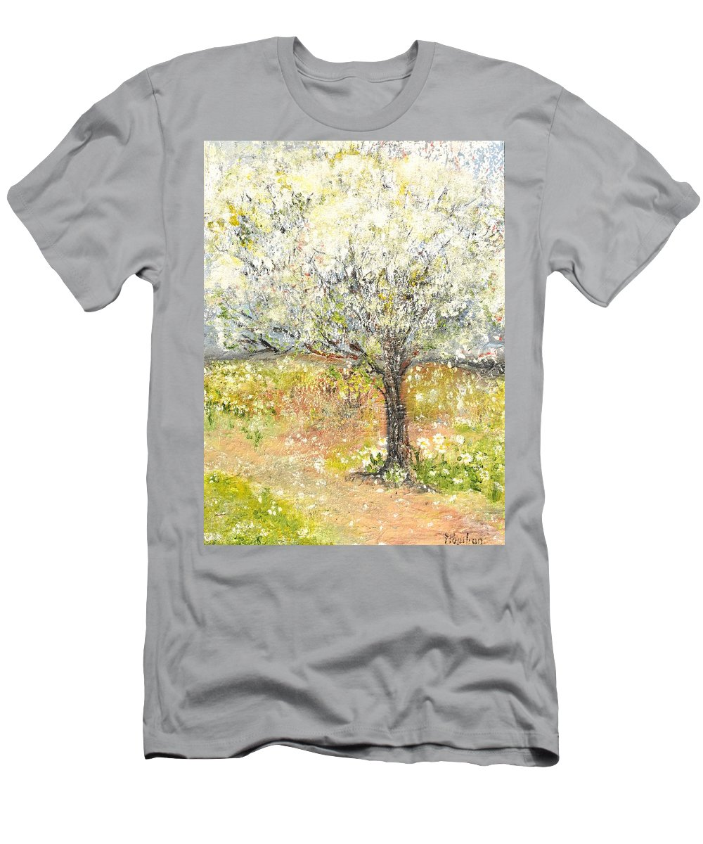 Landscape Men's T-Shirt (Athletic Fit) featuring the painting Spring by Evelina Popilian