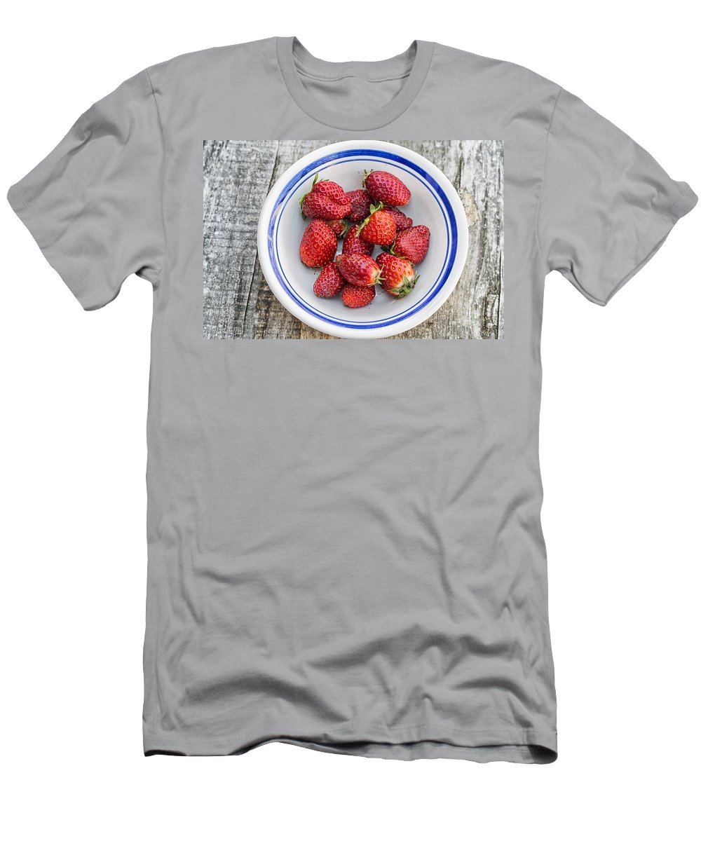 Strawberry Men's T-Shirt (Athletic Fit) featuring the photograph Strawberry by Paulo Goncalves