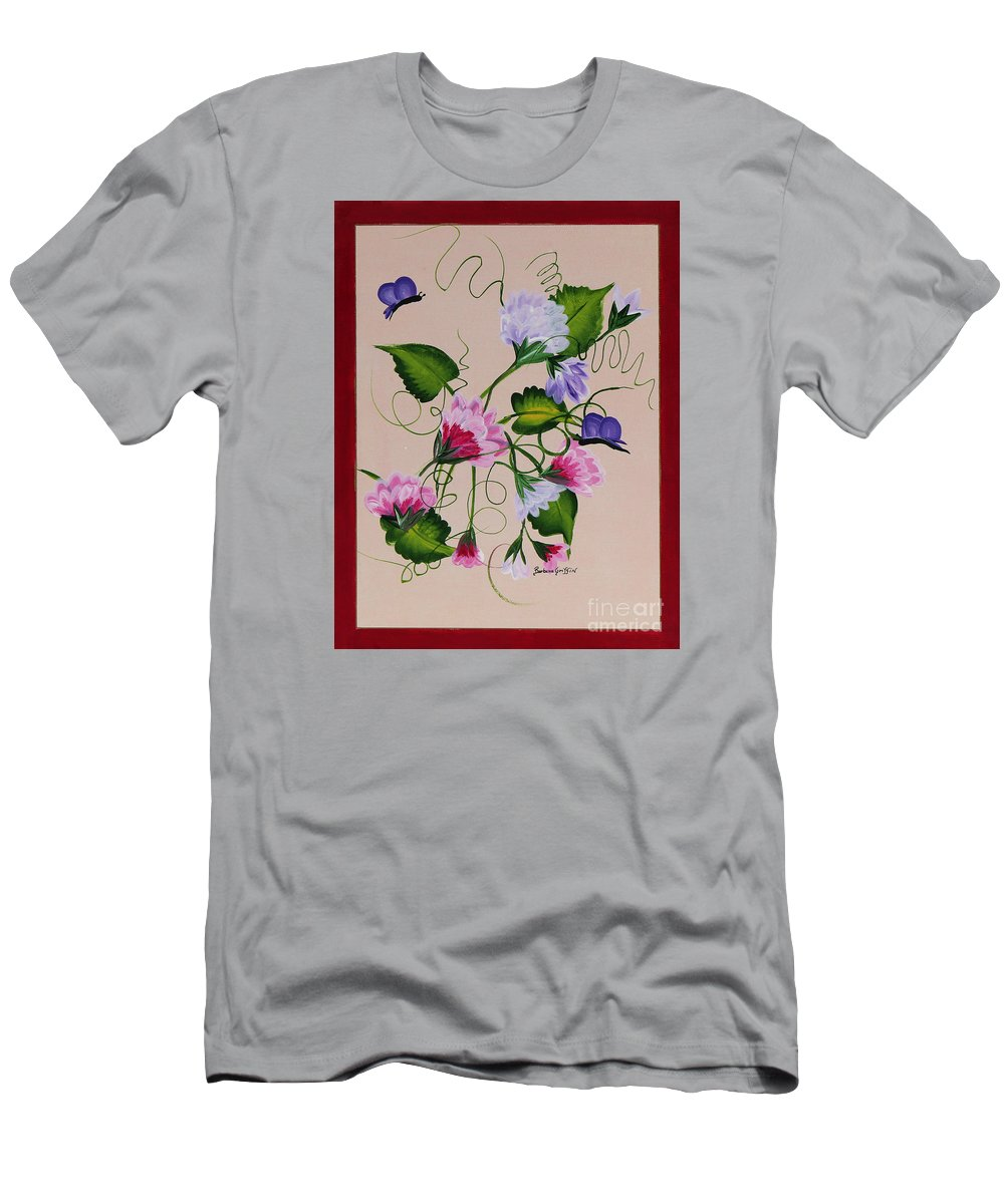 Barbara Griffin Men's T-Shirt (Athletic Fit) featuring the painting Sweet Peas And Butterflies by Barbara Griffin