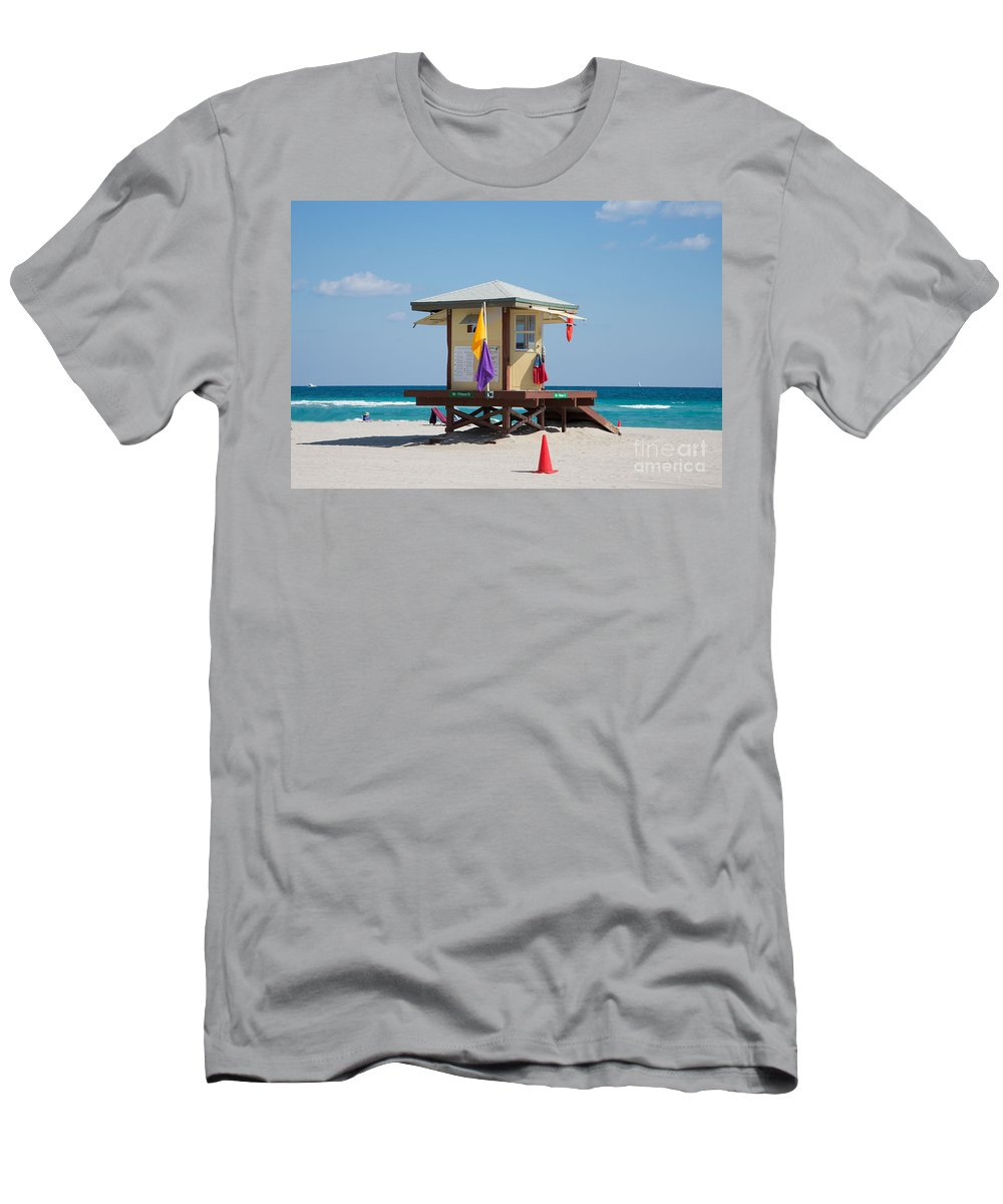 Beach Men's T-Shirt (Athletic Fit) featuring the digital art The Beach In Hollywood Florida by Carol Ailles