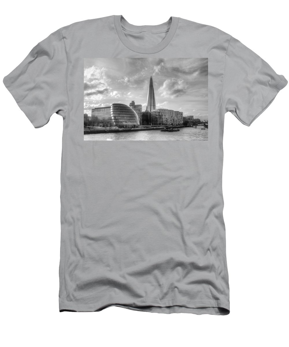 The Shard Men's T-Shirt (Athletic Fit) featuring the photograph The Shard And City Hall by Chris Day