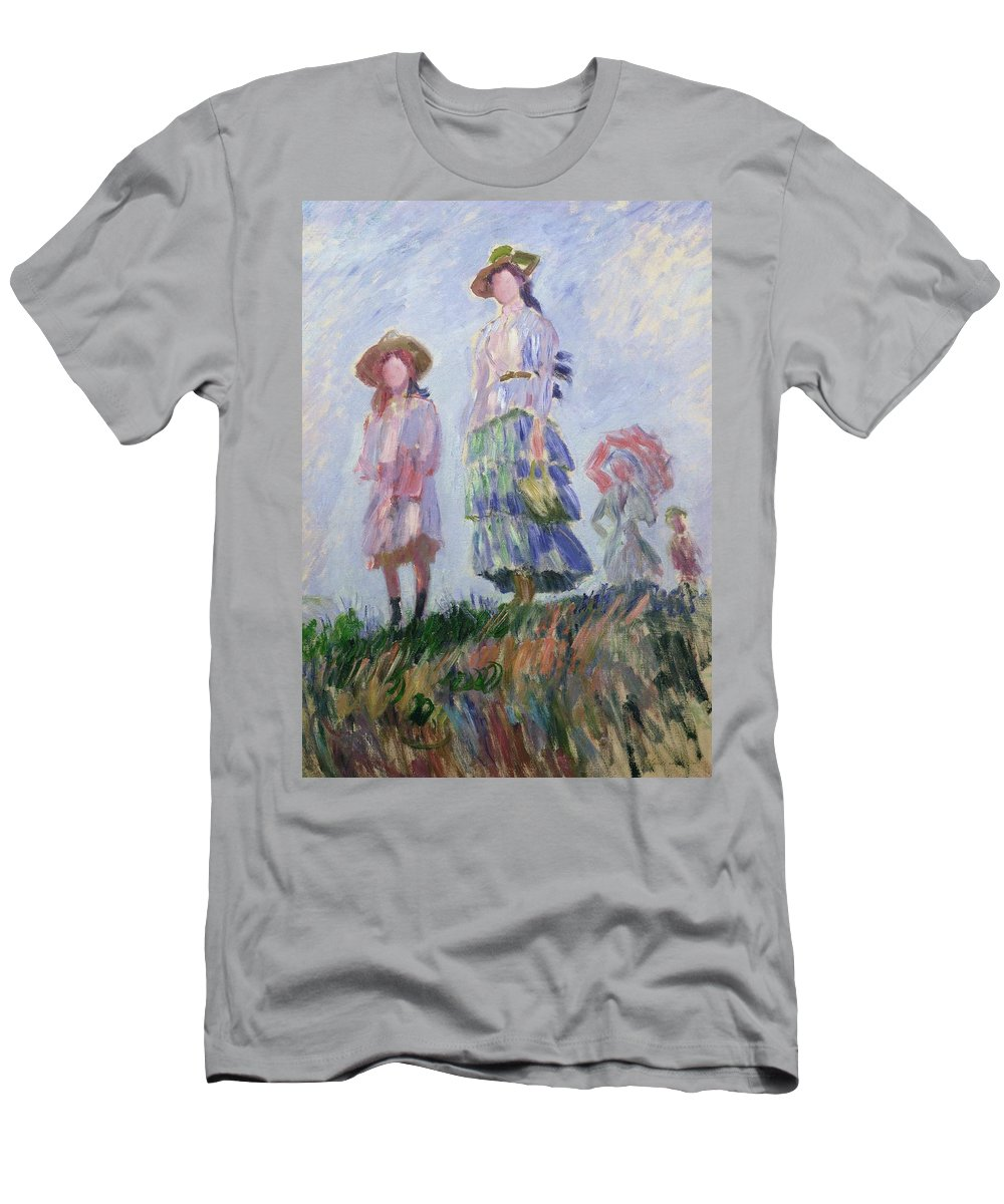 French Men's T-Shirt (Athletic Fit) featuring the painting The Walk by Claude Monet