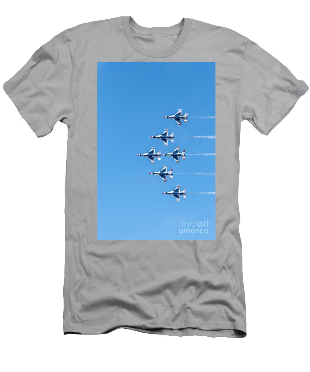 Thunderbirds Men's T-Shirt (Athletic Fit) featuring the photograph Thunderbirds And Blue Sky by Amel Dizdarevic