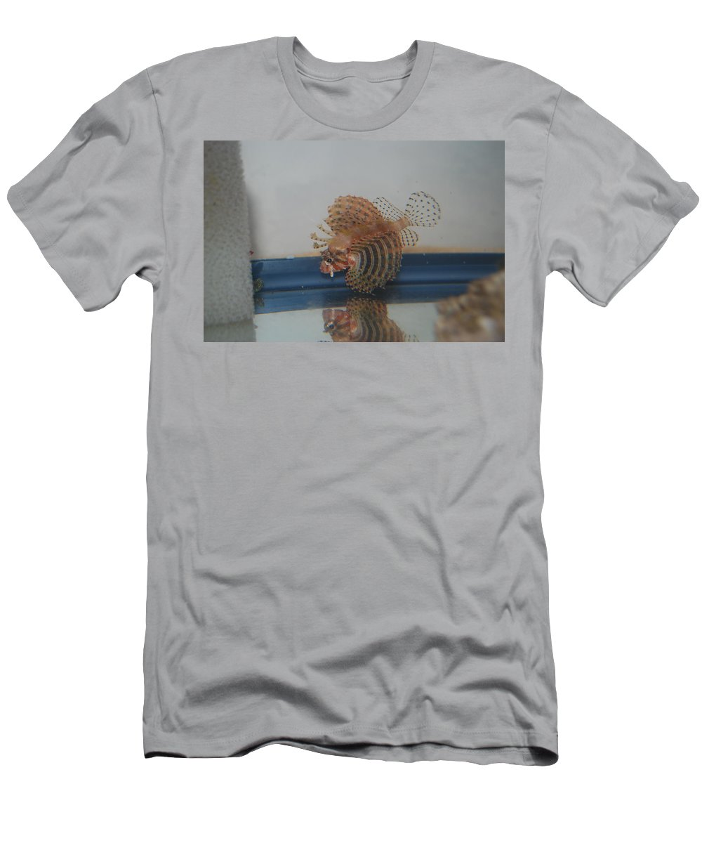 Taken Through Side Of Aquarium Men's T-Shirt (Athletic Fit) featuring the photograph Tropical Lion Fish by Robert Floyd