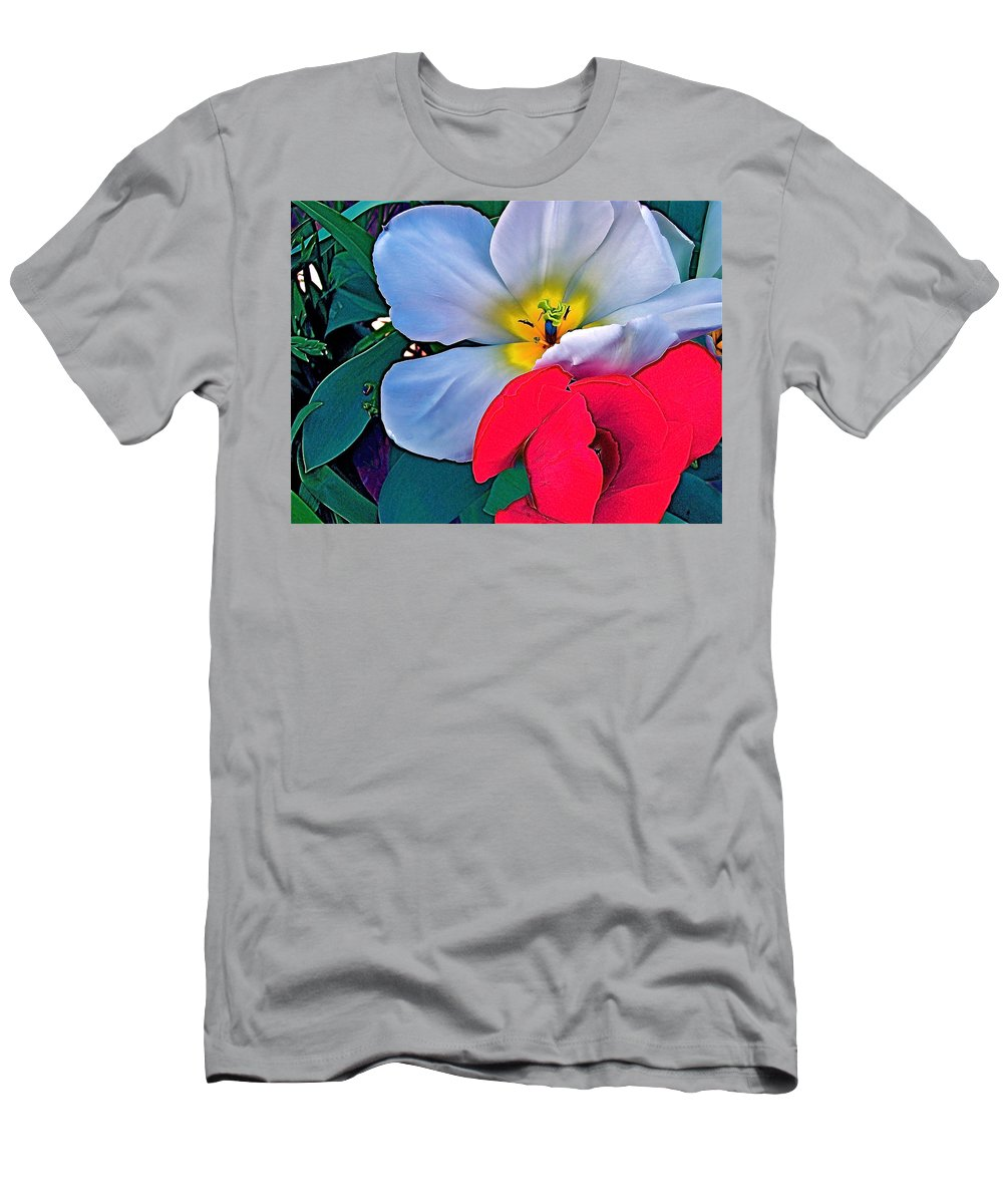 Flowers Men's T-Shirt (Athletic Fit) featuring the photograph Tulip 5 by Pamela Cooper