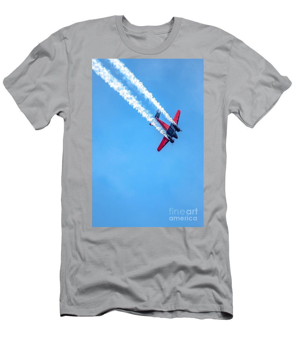 Red Men's T-Shirt (Athletic Fit) featuring the photograph Twin Engine Plane by Amel Dizdarevic